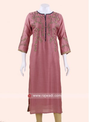 Straight Fit Silk Kurti
