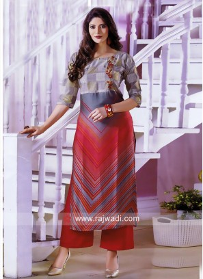 Straight Fit Thread Work Kurti