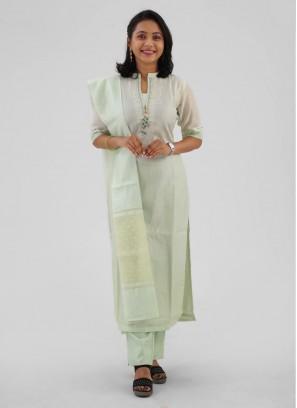Straight Pant Light Pista Green Cotton Silk Suit