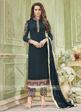 Straight Salwar Suit in Dark Green
