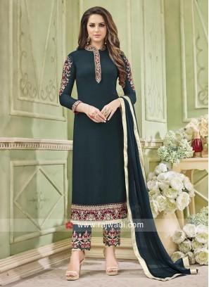 Straight Salwar Suit in Dark Green