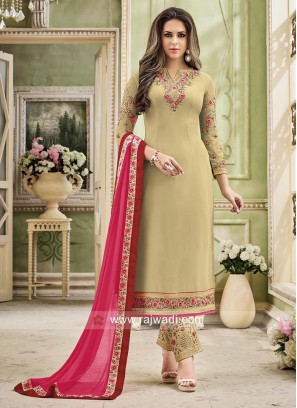 Straight Salwar Suit with Shaded Dupatta