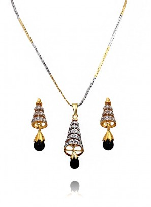 Studded Conical Pendant Set With Black Drop