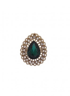 Studded Green Royal Finger Ring