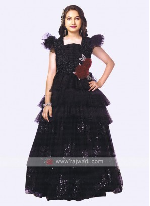 stunning black color net gown