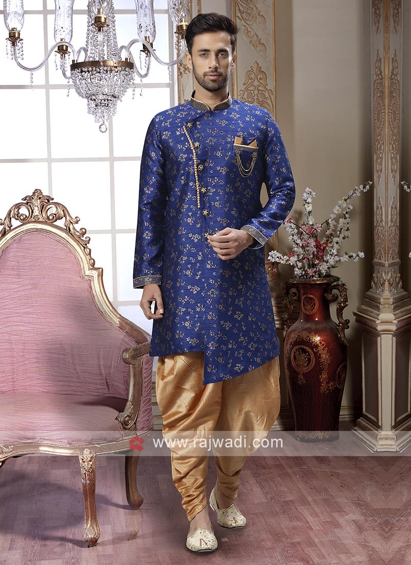 Stunning Blue And Golden Patiala Suit