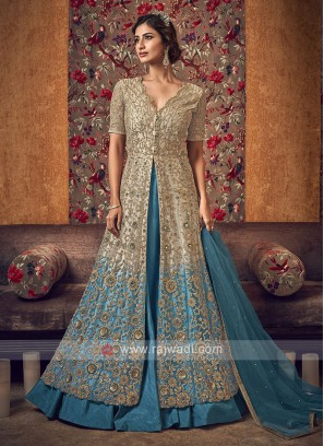 Stunning cream and blue color salwar suit