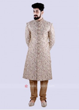 Stunning Cream And Golden Colour Sherwani