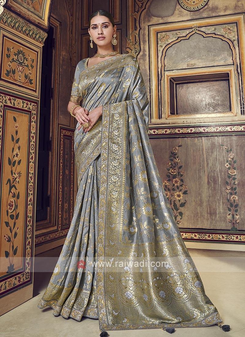 Stunning Grey Color Dola Silk Saree