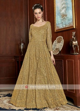 stunning khaki color gown style suit