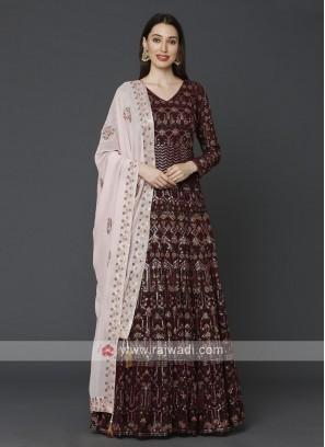 Stunning Maroon Anarkali Suit