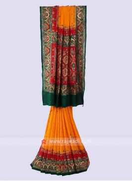 Stunning Orange & Green Saree