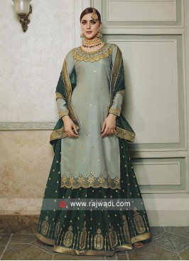 Grey and Green Salwar kameez.