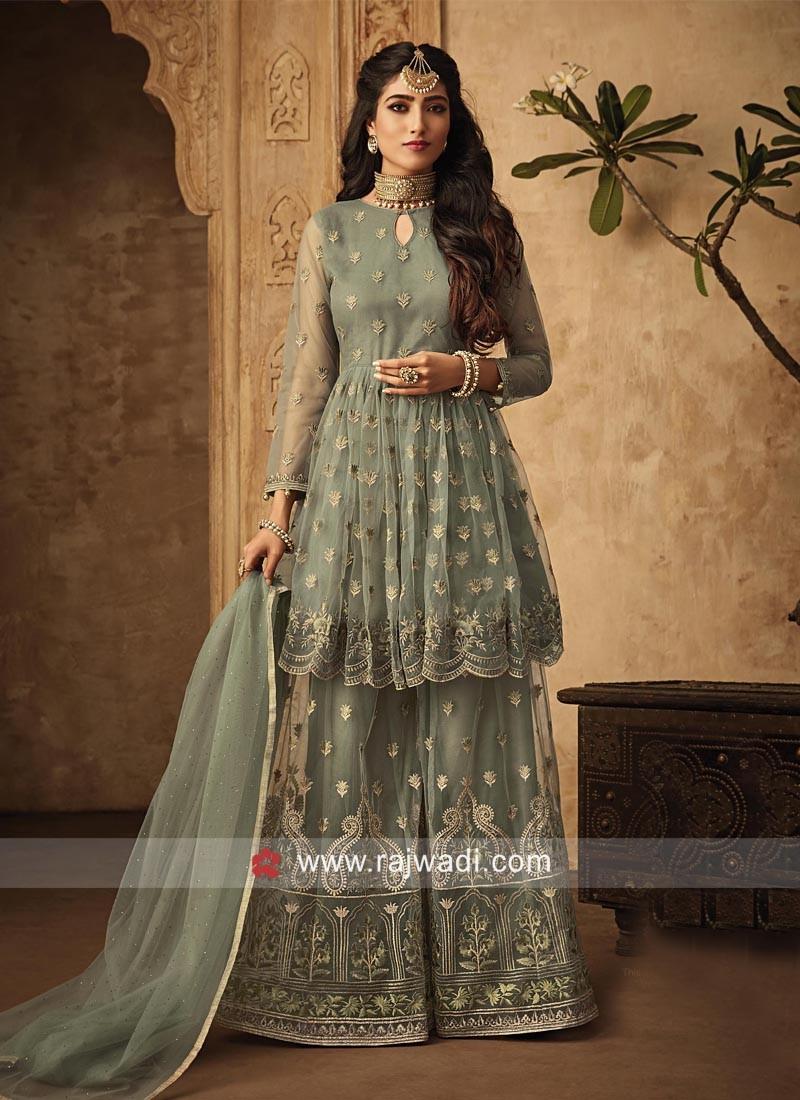 Stunning Sea Green Gharara Suit