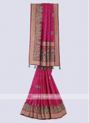 Stunning silk saree in pink color