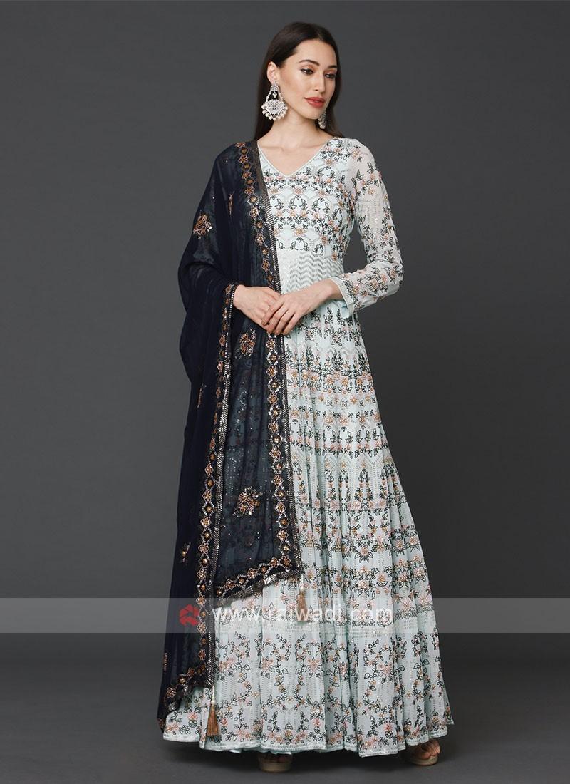 Stunning Sky Blue Anarkali Suit