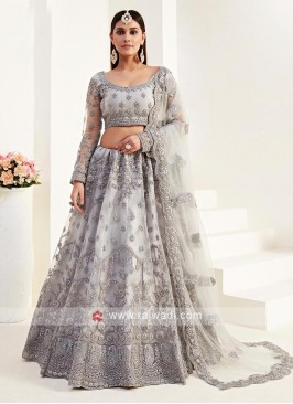 Stuuning Net Lehenga Choli In Grey