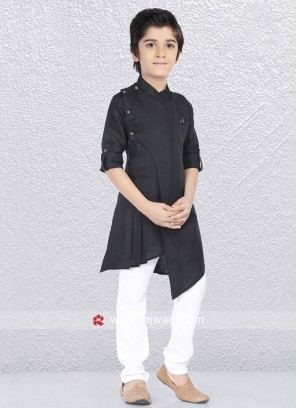 Linen Cotton Black Kurta Set
