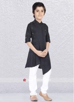 Linen Cotton Black Kurta Set