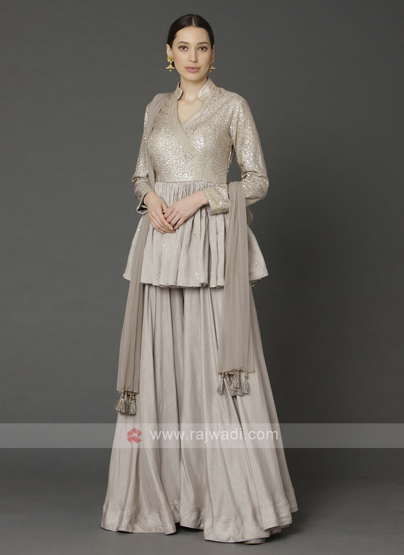 Stylish Beige Color Gharara Suit