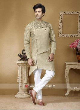Stylish Beige Color Pathani Suit