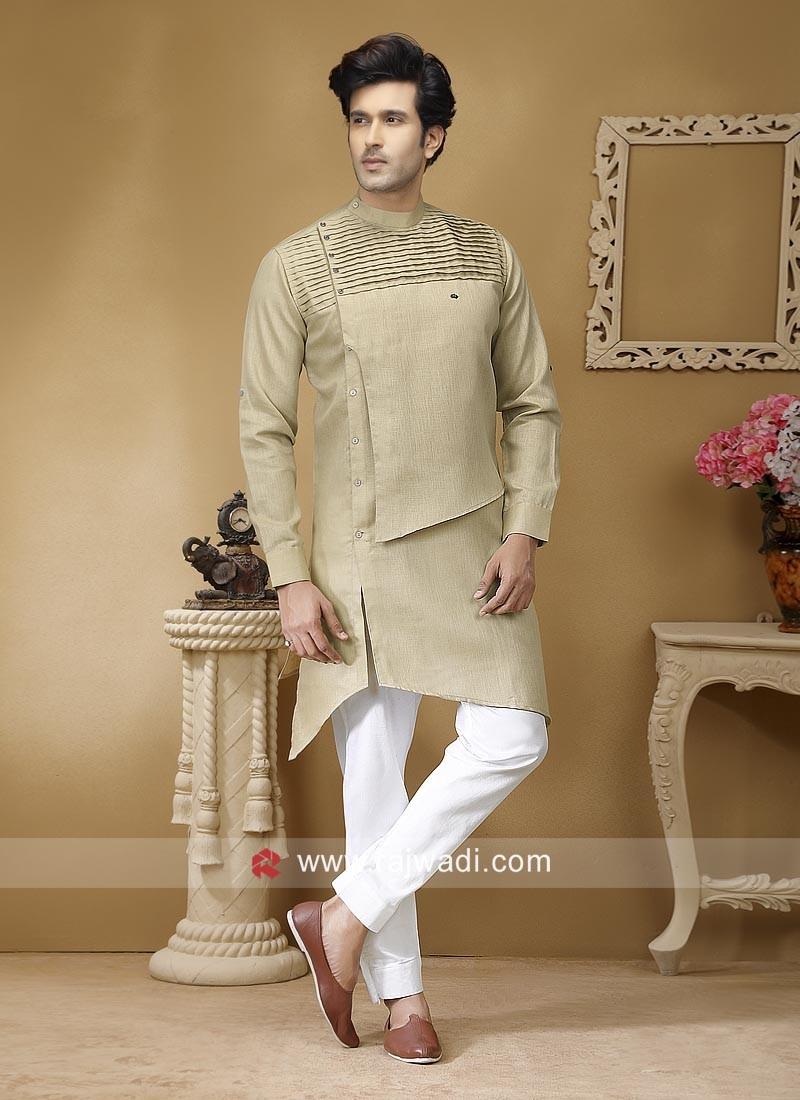 Stylish Beige Color Pathani Suit