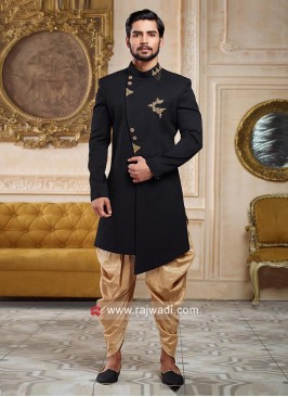 Stylish black and golden indowestern