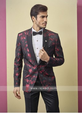 stylish black and maroon color suit