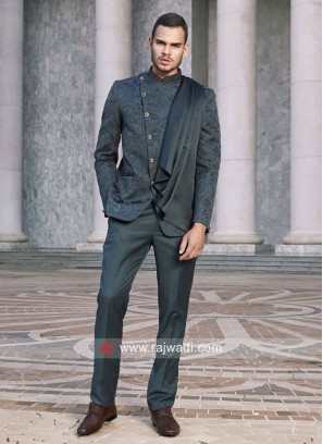 Stylish Teal color Jodhpuri Suit