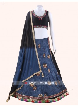 Stylish Black and Steel Blue Chaniya Choli