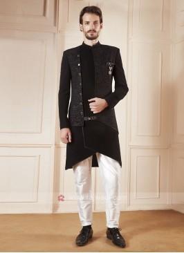 Stylish Black And White Colour Indo-western