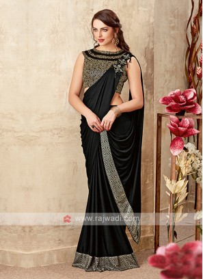 stylish black color lycra saree