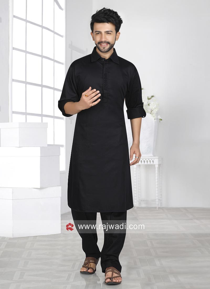 Stylish Black Color Pathani