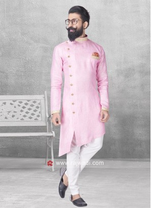 Stylish Pink Color Pathani Suit