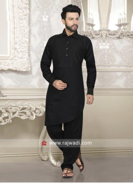 Stylish Black Color Pathani Suit