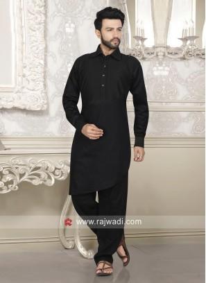 Stylish Black Color Pathani Suit