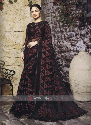 Stylish Black Color Saree