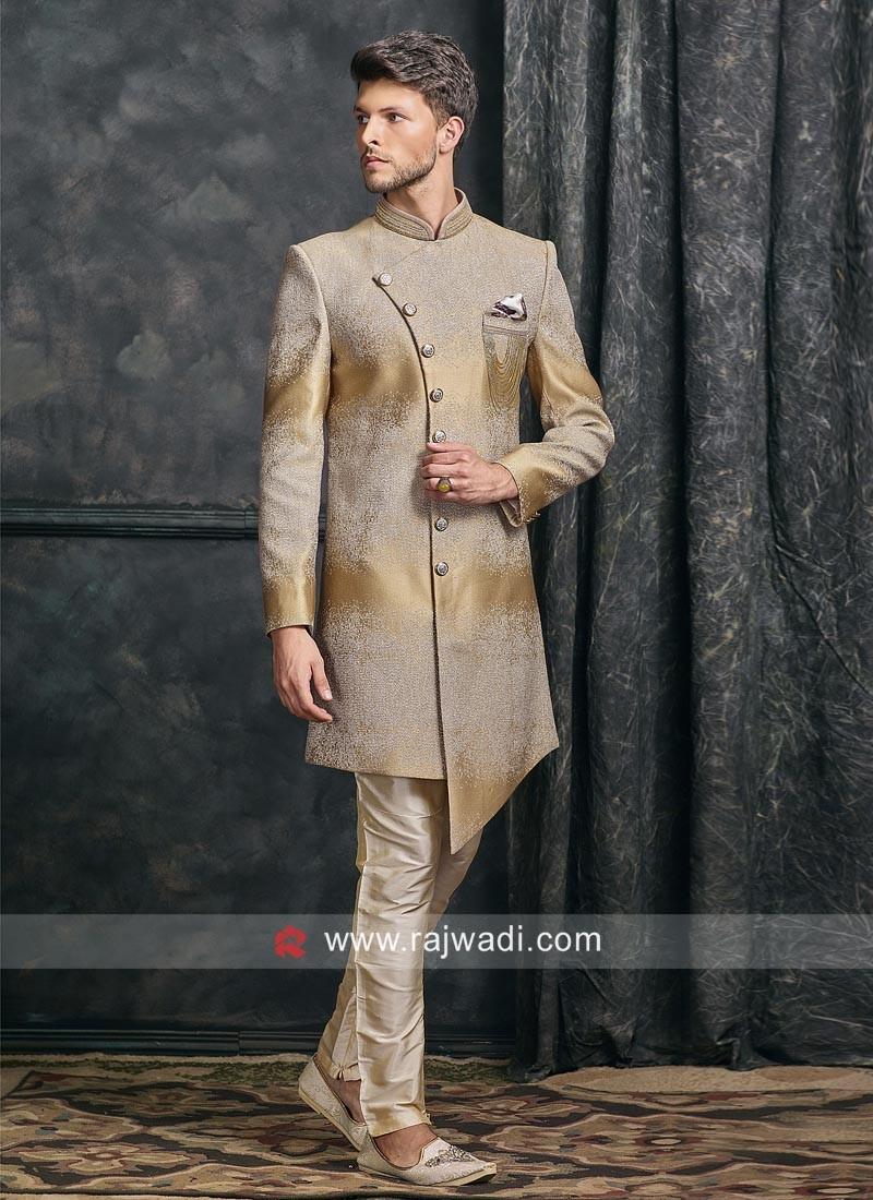 Designer Goldenrod Color Indo Western