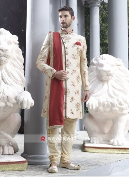Stylish Cream Sherwani With Dupatta