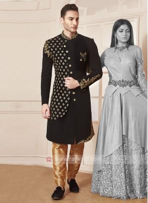 Stylish Black Colour Indo-western