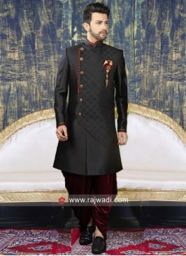 Stylish Black Indo Western With Side Buttons