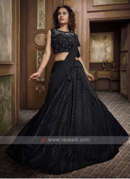 Stylish Black Lycra Lehenga Choli