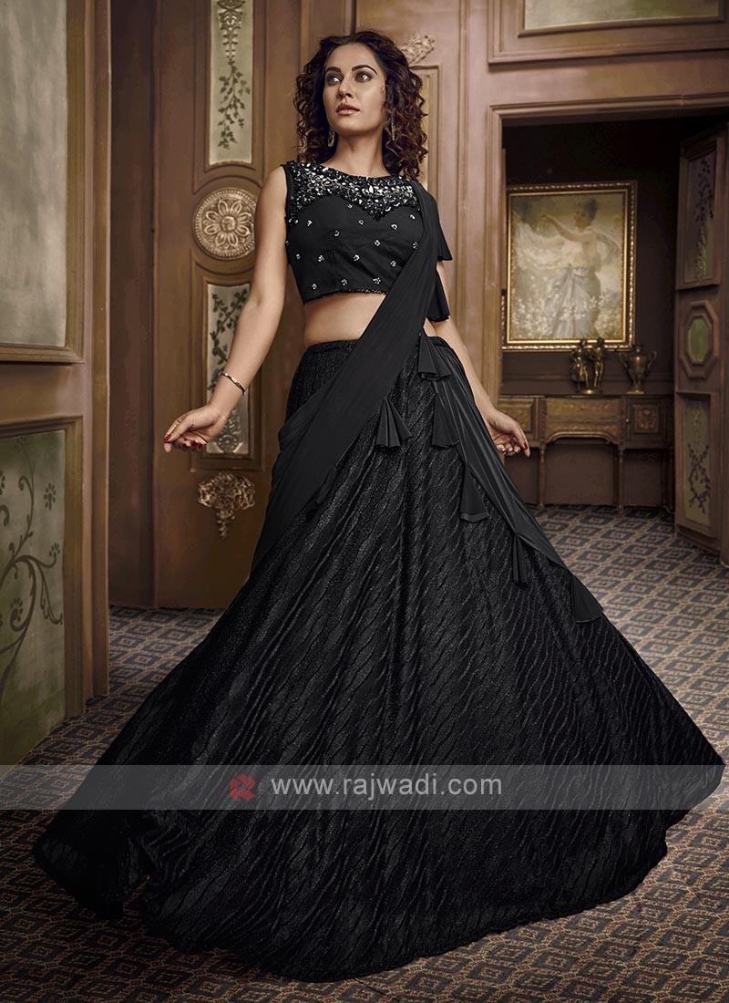 Stylish Black Lycra Lehenga Choli