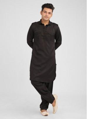 Stylish Black Satin Silk Pathani Suit