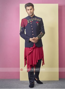 Stylish Blue And Red Indo-western
