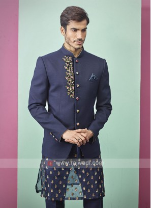 Stylish Blue Color Jodhpuri Suit