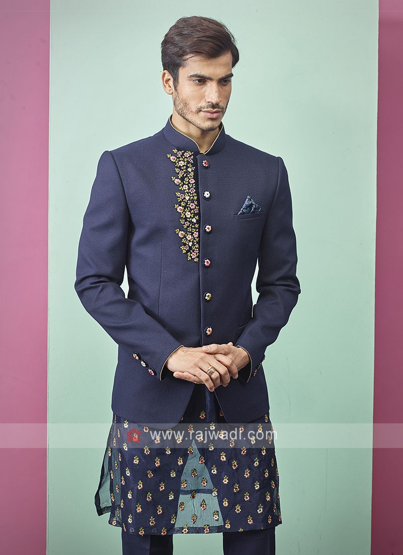 Stylish Blue Color Jodhpuri Suit