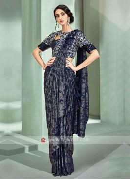 Stylish blue colour ready pleated saree