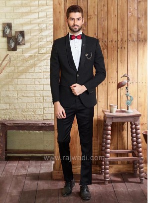 Stylish Bow tie Suit In Black Color