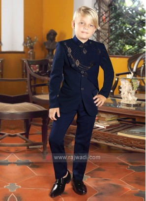 Stylish Boys Blue Jodhpuri Suit